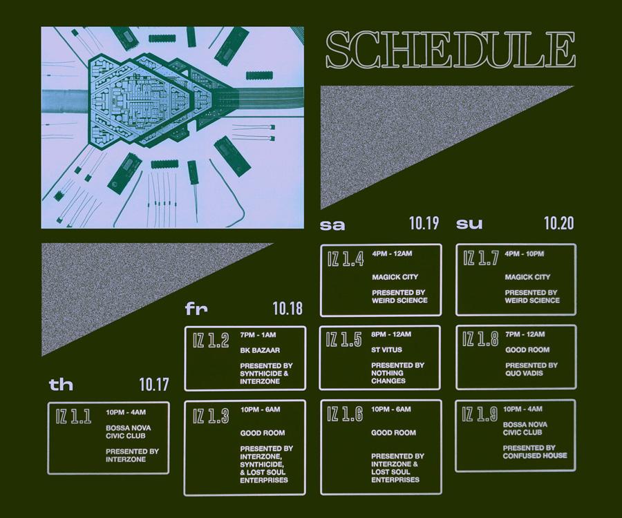 Interzone Schedule