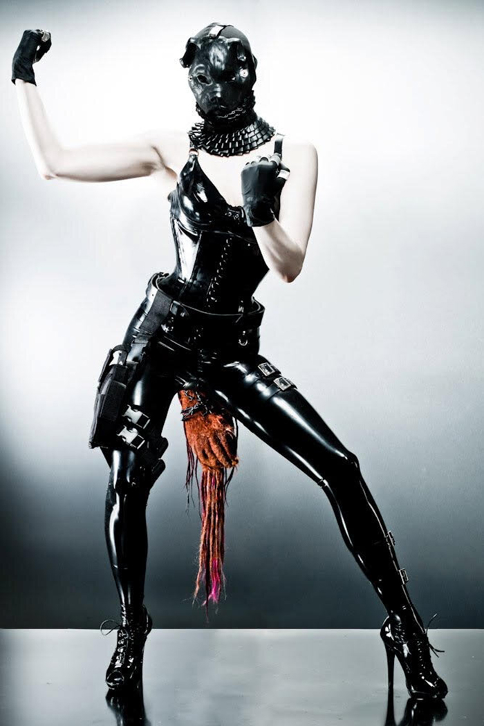 """Dog Soldier"" outfit. Torture garden 2010. Collar and corset Renee Masoomian. Photo Armando de'Ath."